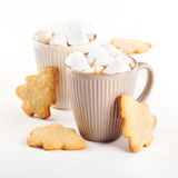 Cup of hot cocoa with marshmallows and cookies Royalty Free Stock Photos