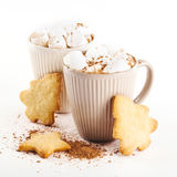 Cup of hot cocoa with marshmallows and cookies Royalty Free Stock Image