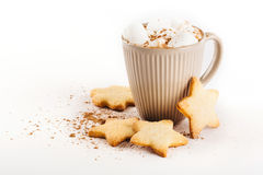 Cup of hot cocoa with marshmallows and cookies Stock Image
