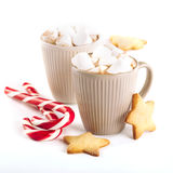 Cup of hot cocoa with marshmallows and cookies Stock Images