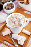 Cup of hot cocoa with marshmallows Royalty Free Stock Images