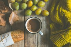 Cup of hot cocoa, whole grain rye bun, scattered yellow and green plums in craft paper bag. Dry leaves knitted sweater, fall Stock Image