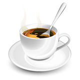 Cup of hot coffee. With foam and spoon stock illustration