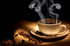 Cup of hot coffee Royalty Free Stock Photos