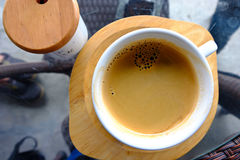 Cup of hot coffee americano. Cup of hot coffee. Hot tasty americano in white mug Stock Photos