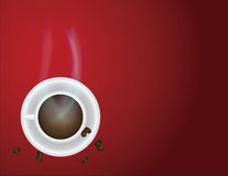 Cup of Hot Coffee and Beans Illustration Royalty Free Stock Images