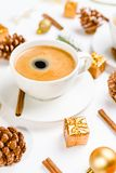 cup of hot coffee on a christmas holiday table. holidays and events consept royalty free stock photos
