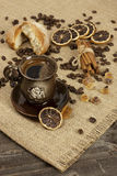 Cup of hot coffee  and coffee beans Stock Photo
