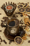 Cup of hot coffee  and coffee beans Royalty Free Stock Photo