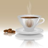 A cup of hot coffee with coffee beans Stock Image