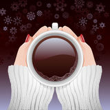 Cup of hot coffee in cold season Royalty Free Stock Photography