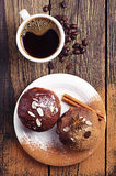 Cup of hot coffee and cupcake Royalty Free Stock Photos