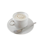 Cup of hot coffee e with cream foam. Royalty Free Stock Image