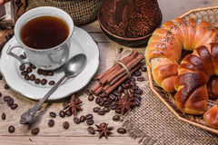 Cup of hot coffee and fresh croissants Royalty Free Stock Image
