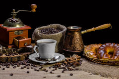 Cup of hot coffee and fresh croissants, still life Royalty Free Stock Photography