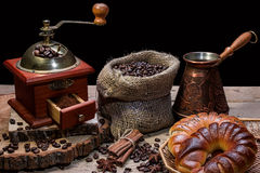 Cup of hot coffee and fresh croissants, still life Stock Image