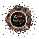 A Cup of Hot Coffee with Good Morning Word Stock Photo