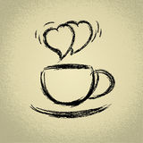Cup of hot coffee. Heart-shaped steaming. Stock Images