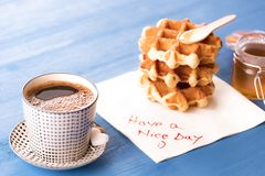 Hot coffee and napkin message Stock Photography