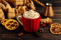 A cup of hot coffee, in a knitted cover and homemade cookies, Cezve and spices, lie on a wooden table near the checkered plaid. royalty free stock photo
