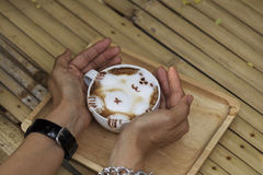 A cup of Hot coffee late Stock Image