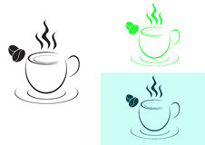 Cup of hot coffee logo-sign. Hot coffee cup logos, symbols are as in Figure 3 Royalty Free Stock Images