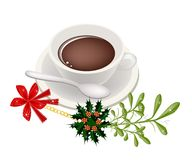 A Cup of Hot Coffee with Mistletoe Bunch Stock Photography