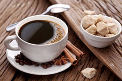 Cup of hot coffee on the old wooden table. Royalty Free Stock Photography