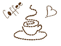 A cup of hot coffee painted with coffee beans. And inscriptions Royalty Free Stock Image