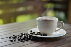 A cup of hot coffee with roasted coffee beans Royalty Free Stock Photography