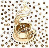 A cup of hot coffee on a saucer, in a hot coffee the inscription `I love coffe`. Background of coffee beans. Watercolor Stock Images