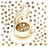 A cup of hot coffee on a saucer, in a hot coffee the inscription `I love coffe`. Background of coffee beans Royalty Free Stock Image