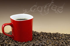 Cup of hot coffee with smoke text Stock Photo