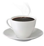 Cup of hot coffee with steam and saucer Royalty Free Stock Image