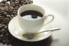 A Cup of hot coffee on the table Royalty Free Stock Photos