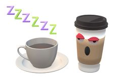 A cup of hot coffee and a takeaway coffee for combating sleepiness. A computer generated illustration image of a cup of hot coffee and a takeaway coffee for stock illustration