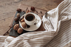 A cup of hot coffee and themed items around it. Royalty Free Stock Image