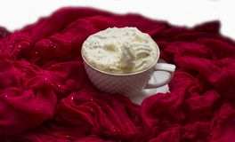 Cup with hot coffee and whipped cream stock image