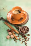 Cup of hot coffee on the wooden table Royalty Free Stock Images