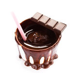 Cup of hot dark chocolate cocoa flow and straw isolated on white background, cl Stock Photos