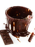 Cup of hot dark chocolate cocoa flow on white background, close up Royalty Free Stock Photos