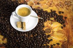Cup of hot drink with coffee beams Stock Image