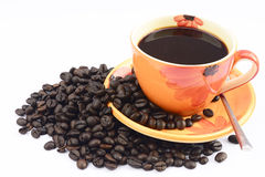 Cup of hot drink with coffee bean Stock Images