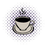 Cup of hot drink comics icon Stock Image