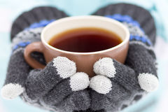 Cup of hot drink in hands Stock Image
