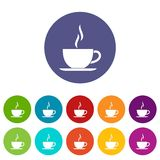 Cup of hot drink set icons Royalty Free Stock Images