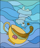 Cup with hot drink. Stylized stained glass . Yellow cup with hot drink in it Royalty Free Illustration