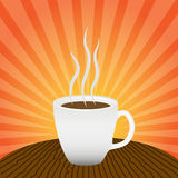 Cup with a hot drink on a wooden table. Royalty Free Stock Photos