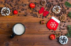 A cup of hot drink on a wooden table. Christmas banner Stock Photo