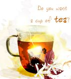 Cup of hot English tea create in watercolor style. Cup of tea and teabag sunny and light vector illustration poster create in watercolor style with space for Royalty Free Stock Photo